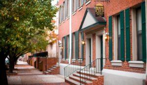 Entrance to Trinity Row apartments in Center City Philadelphia