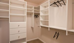 Apartment with walk in closet and built in storage at Trinity Row