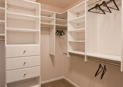 Center City apartment with spacious closets, adjustable shelving, and custom storage