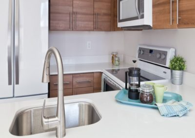 Trinity Row apartment kitchen with white quartz countertops