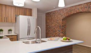 apartment kitchen brick arch wall at Trinity Row in Philadelphia