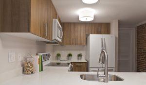 Philadelphia apartment kitchen with quartz countertops at Trinity Row in Center City