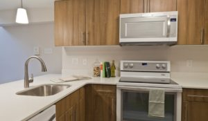 apartment kitchen with stainless steel appliances at Trinity Row in Philadelphia