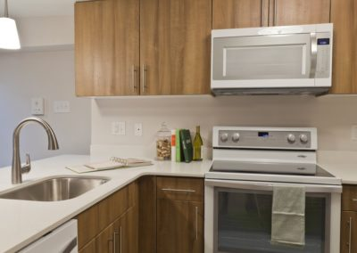 Apartment kitchen at Trinity Row located in Center City Philadelphia
