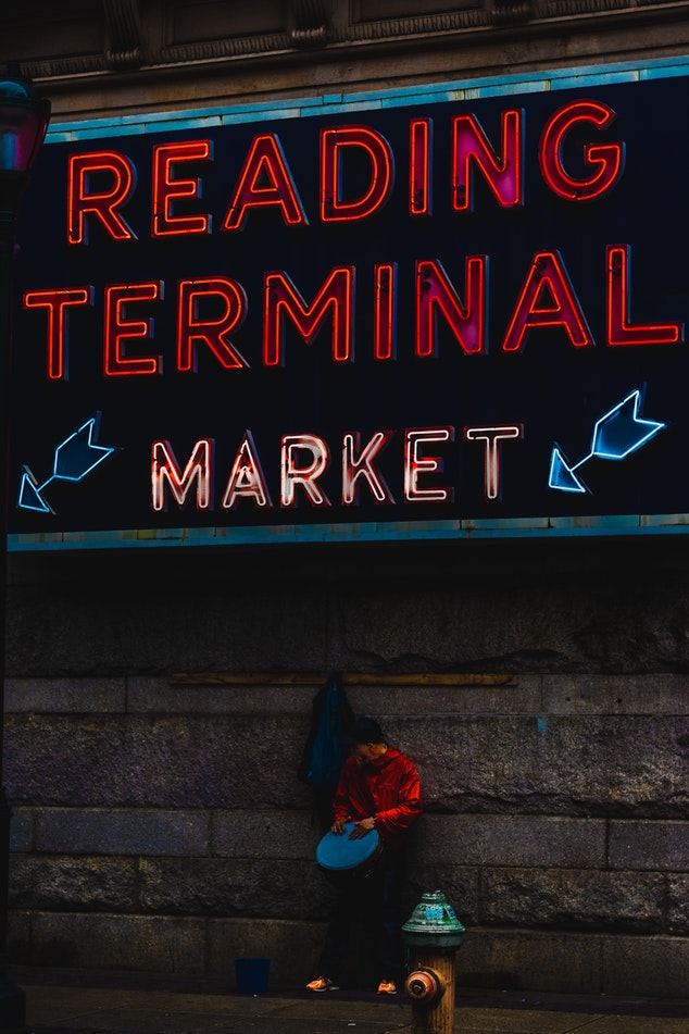 Exterior sign for Reading Terminal Market in Philadelphia, PA